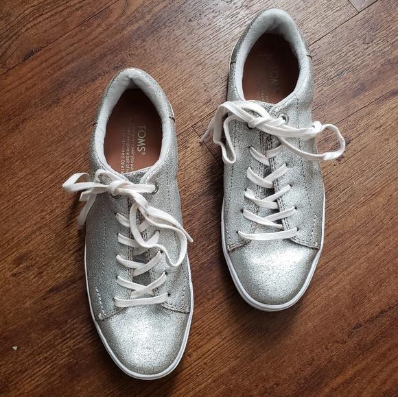 875bdce309 Toms Shoes | Metallic Silver Lenox Lace Up Sneaker | Poshmark